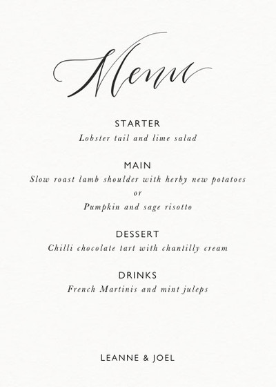 Calligrafia Menu | Personalised Menu