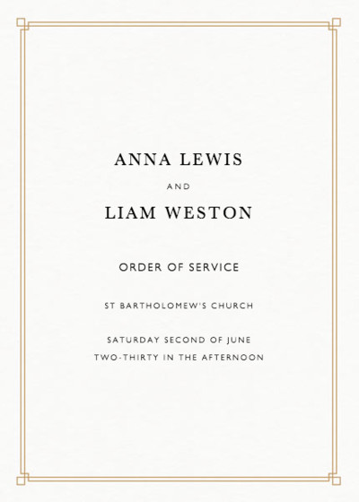 Deco Corners Gold | Personalised Order Of Service