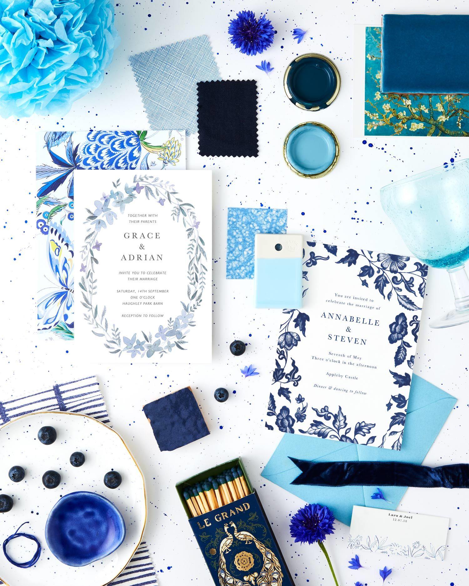 blue and white summer wedding colour scheme