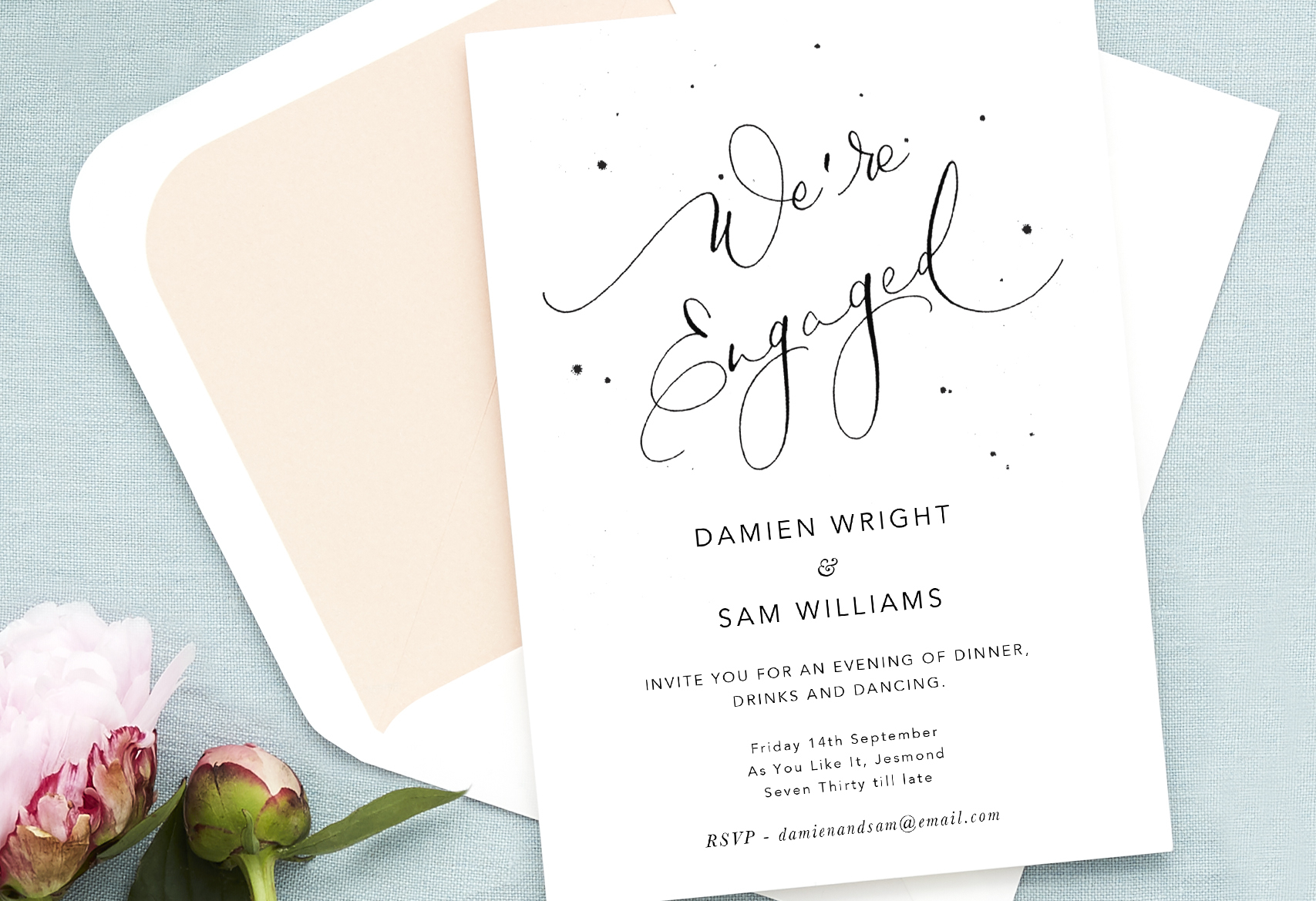 dinner drinks and dancing engagement party invitation wording